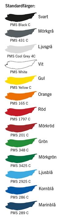 Standardfärger för transfertryck Tranemo