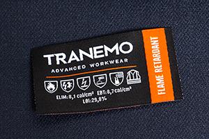 FR-emblemet visar plaggets Arc-Rating och vilka standarder det är certifierat för.
