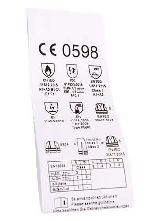 CE-etikett finns inuti skyddskläderna